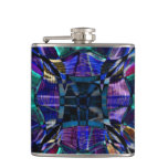 Blue Fractal Pattern Hip Flask