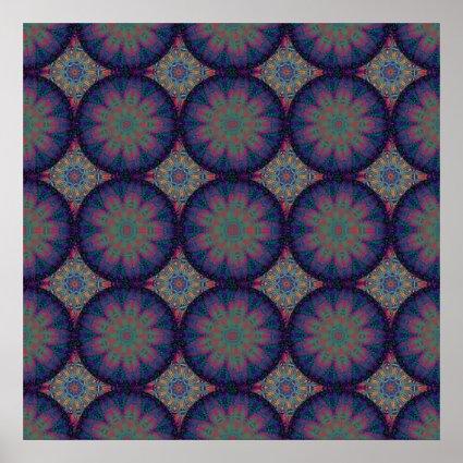 Blue Fractal Pattern Poster