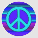 Blue Fractal & Peace Sign Classic Round Sticker