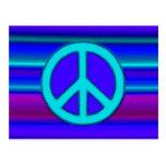 Blue Fractal & Peace Sign Fine Art Postcard