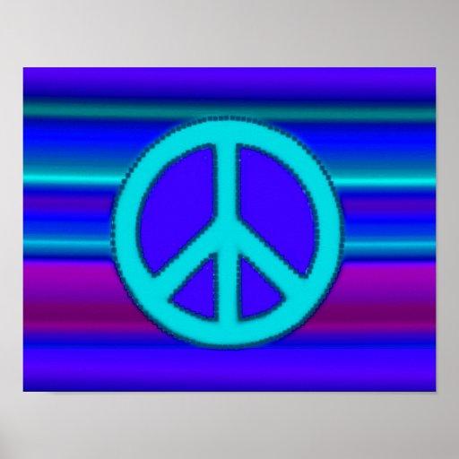 Blue Fractal & Peace Sign Poster