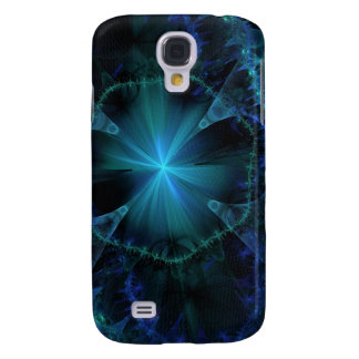 Blue Fractal Pern Galaxy S4 Cases