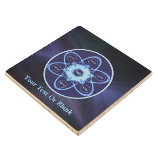 Blue Fractal Seder Plate Wood Coaster