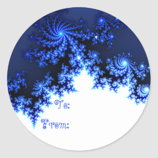 Blue Fractal Snowflake Gift Tag Classic Round Sticker