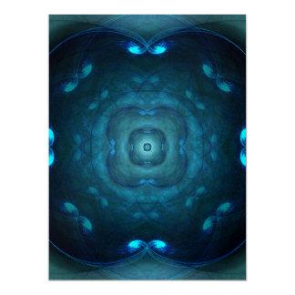 Blue Fractal Square Circle Tunnels Design Invite