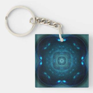 Blue Fractal Square Circle Tunnels Design Keychain