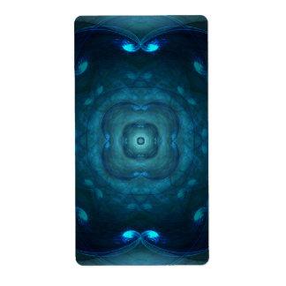 Blue Fractal Square Circle Tunnels Design Label