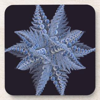Blue Fractal Starfish Beverage Coaster