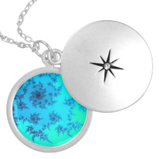 Blue Fractal Swirl Silver Plated Necklace