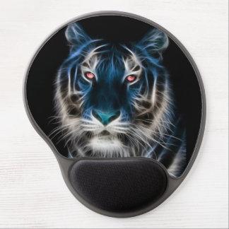 Blue Fractal Tiger Design Gel Mouse Pad