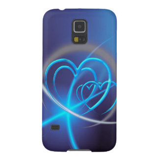 Blue Fractal with Neon Hearts Galaxy S5 Case