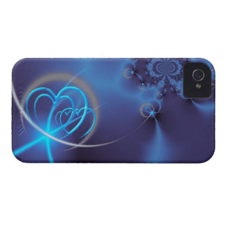 Blue Fractal with Neon Hearts Case-Mate iPhone 4 Case