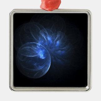 blue fractals 3D ART Metal Ornament