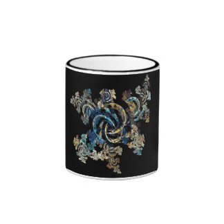 Blue Fractual Design Ringer Coffee Mug