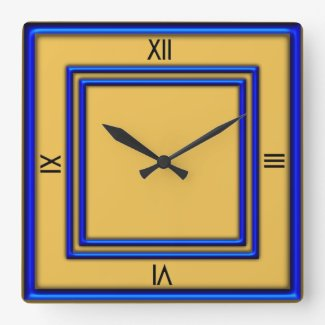 Blue Frame 4 Black Numerals Gold Square Wall Clock