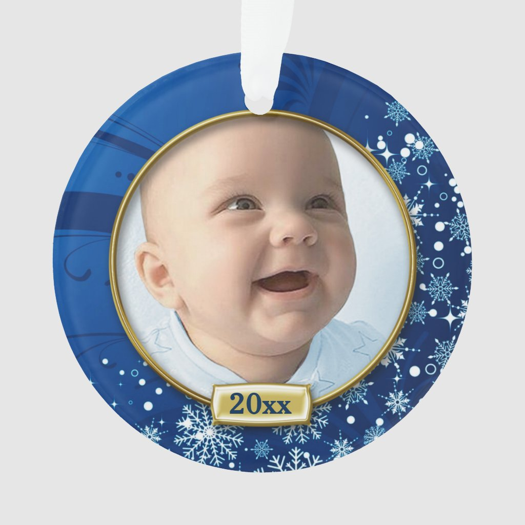 Blue Frame Baby's 1st Christmas Ornament