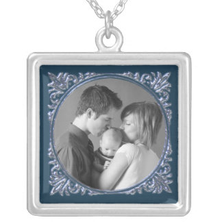 Blue Frame Silver Plated Necklace