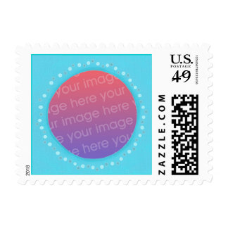 Blue Frame with dots, Add photo postage stamps