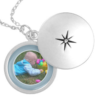 Blue Framed: Add Your Picture Locket