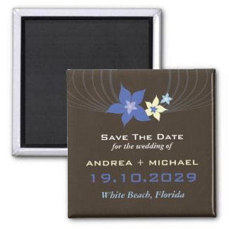 Blue Frangipani Beach Wedding Save The Date Magnet