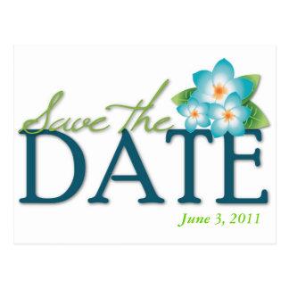 Blue Frangipani Save the Date Postcard
