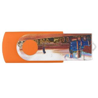 Blue Freight Truck, Cistern Tanker Big Rig Swivel USB 2.0 Flash Drive