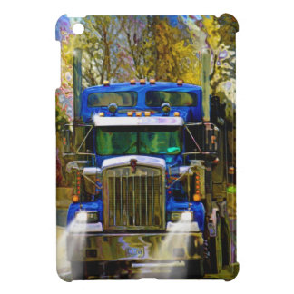 Blue Freight Truck, Truckers Big Rig Cover For The iPad Mini