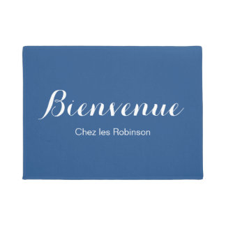 Blue French Bienvenue Welcome Mat