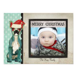 Blue French Bulldog Christmas Photo Card