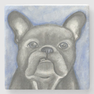Blue French Bulldog marble stone coaster