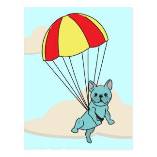 Blue French Bulldog Umbrella Fun Postcard