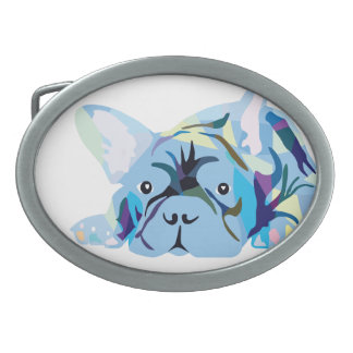 Blue French Bulldogs Oval Belt Buckles