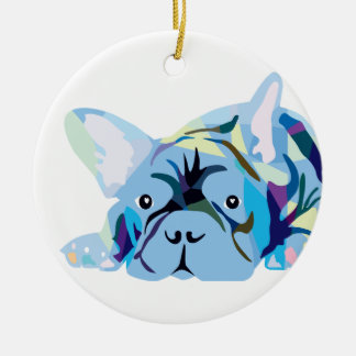 Blue French Bulldogs Christmas Ornaments