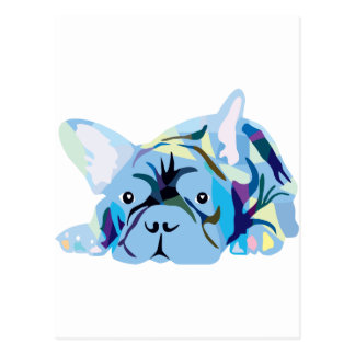 Blue French Bulldogs Postales