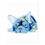 Blue French Bulldogs Tarjetas Postales