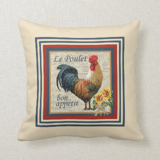 Blue French Country Rooster Throw Pillows