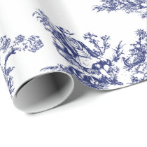 Blue French Country Toile Wrapping Paper