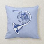 Blue French Horn Art Pillow
