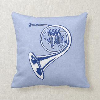 Blue French Horn Art Throw Pillow