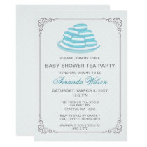 Blue French Macaron Baby Shower Tea Party Invites