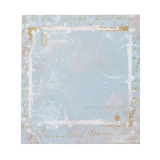 Blue French Toile Elegant Notepad Scratch Pad