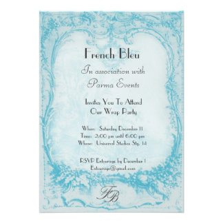 Blue French Toile Invitations