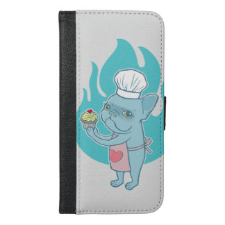 Blue Frenchie and his magical love cupcake iPhone 6/6s Plus Wallet Case