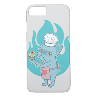 Blue Frenchie and his magical love cupcake iPhone 7 Case