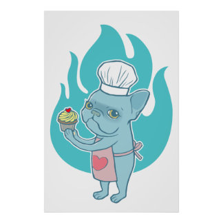 Blue Frenchie and his magical love cupcake Poster