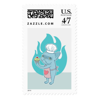 Blue Frenchie and his magical love cupcake Stamp