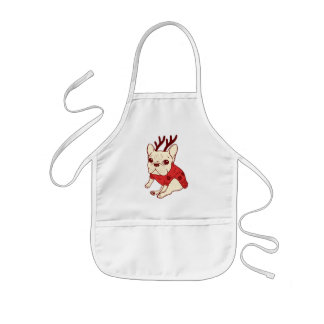 Blue Frenchie in Christmas Sweater Kids' Apron