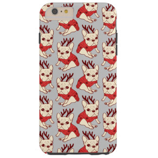 Blue Frenchie in Christmas Sweater Tough iPhone 6 Plus Case