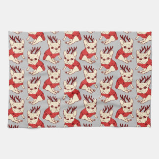 Blue Frenchie in Christmas Sweater Towel