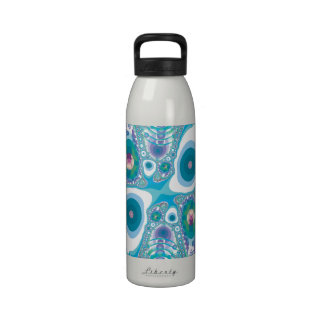Blue Fried Eggs and Jewels Fractal Drinking Bottles